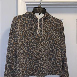 Long sleeve crop top hooded animal print jacket